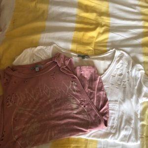 2 tattered shirts